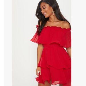 [BRAND NEW] PLT Red Chiffon Bardot Ruffle Dress